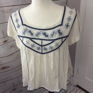 Free People Muse Embroidered Crop Top Ivory Small